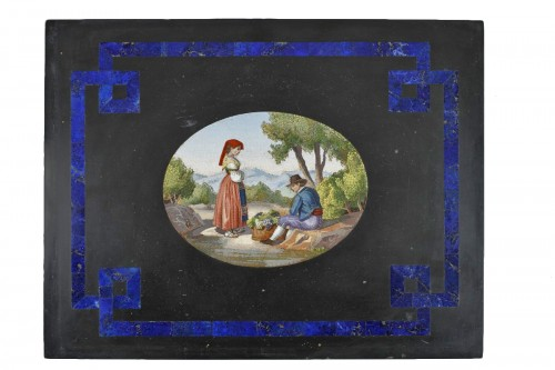 Large black marble plate, lapis lazuli, and micromosaic. mid-19th century