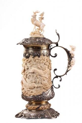 A silver mounted relief carved ivory tankard 18th century german work
