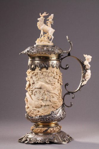 A silver mounted relief carved ivory tankard 18th century german work -