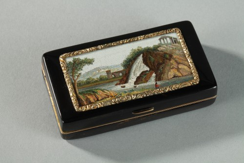 GOLD-LINED, TORTOISESHELL MICROMOSAIC SNUFF BOX.Empire Period.  - Objects of Vertu Style Empire