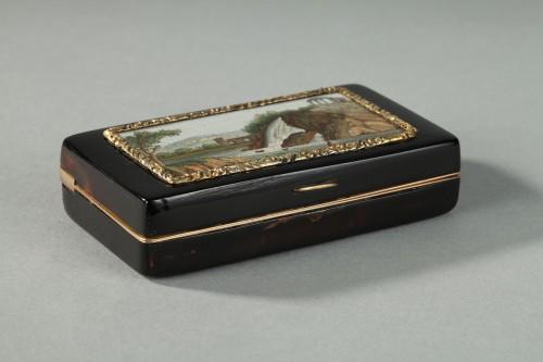 GOLD-LINED, TORTOISESHELL MICROMOSAIC SNUFF BOX.Empire Period.  -