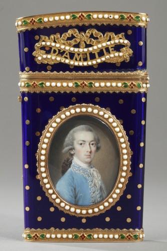 Louis XVI - Gold and enamel writting case. Louis XVI