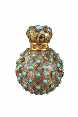 Gold, crystal and turquoise Perfume flask Restauration Period