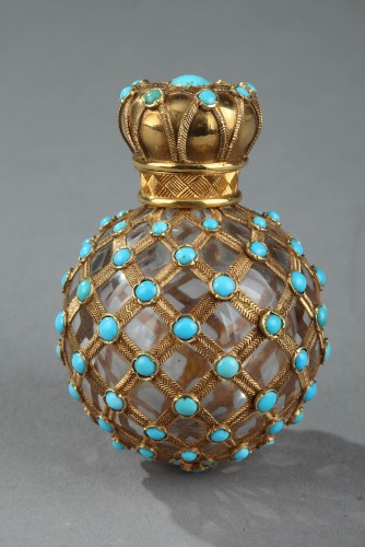 Gold, crystal and turquoise Perfume flask Restauration Period - Objects of Vertu Style Restauration - Charles X