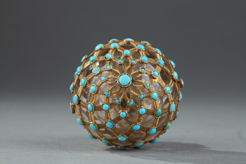 19th century - Gold, crystal and turquoise Perfume flask Restauration Period