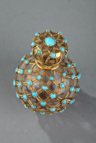 Gold, crystal and turquoise Perfume flask Restauration Period - Restauration - Charles X