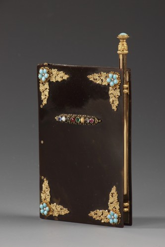 Early 19th century dance Card with acrostic message in precious stones - Objects of Vertu Style Restauration - Charles X