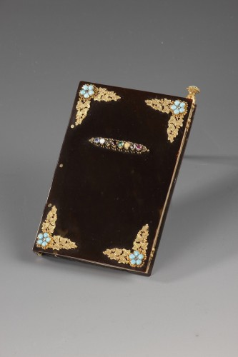 Objects of Vertu  - Early 19th century dance Card with acrostic message in precious stones