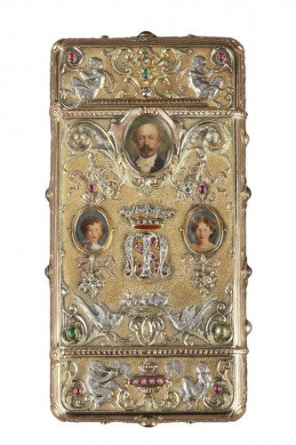 A 19th Century Gold and Silver, Diamonds case of the Duc de Morny