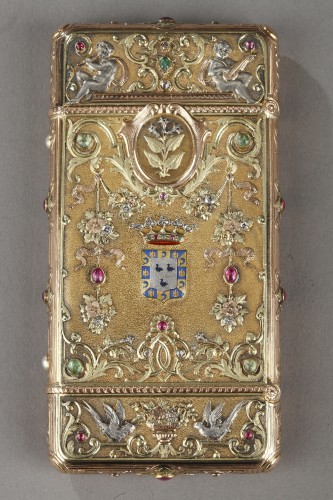 A 19th Century Gold and Silver, Diamonds case of the Duc de Morny - Objects of Vertu Style Napoléon III