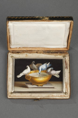 Early 19th century Micromosaic with Capitoline doves .  - Objects of Vertu Style Restauration - Charles X