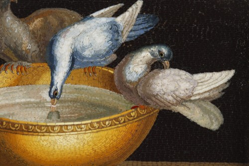 19th century - Early 19th century Micromosaic with Capitoline doves .