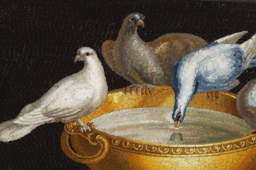Early 19th century Micromosaic with Capitoline doves .  - Restauration - Charles X