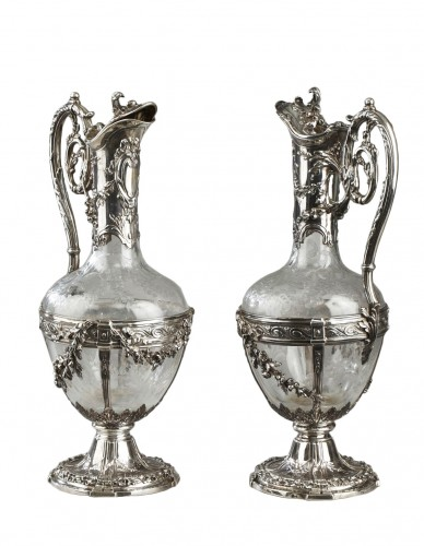 Pair of cut crystal decanter, Edmond Tétard 19th Century