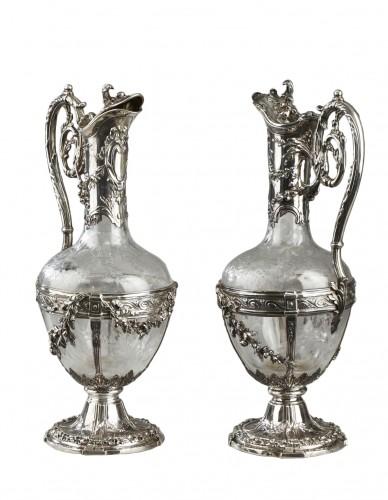 Pair of cut crystal decanter, Edmond Tétard 19th Century