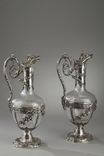 Pair of cut crystal decanter, Edmond Tétard 19th Century - Antique Silver Style Napoléon III
