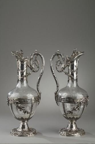 Antique Silver  - Pair of cut crystal decanter, Edmond Tétard 19th Century
