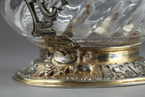 19th century - GRONIER-ARNAUD LAURENT et Cie - Ewer in silver and crystal