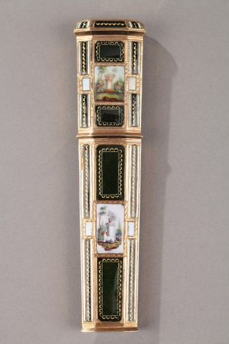 Late18th Century swiss Enameled gold needle or wax case - Objects of Vertu Style Directoire