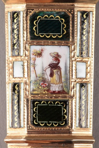 18th century - Late18th Century swiss Enameled gold needle or wax case