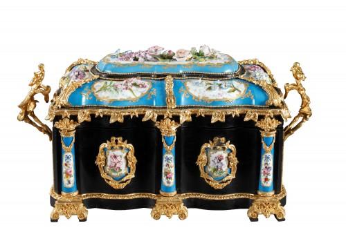 A mid 19th century large ebony and porcelain coffer - alphonse giroux.