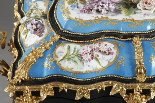 A mid 19th century large ebony and porcelain coffer - alphonse giroux.  - Objects of Vertu Style Napoléon III