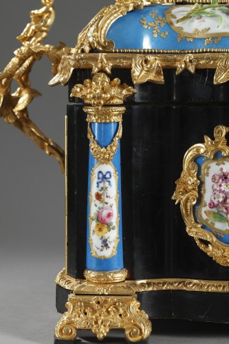 Objects of Vertu  - A mid 19th century large ebony and porcelain coffer - alphonse giroux.