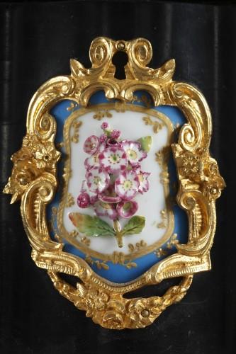 A mid 19th century large ebony and porcelain coffer - alphonse giroux.  -