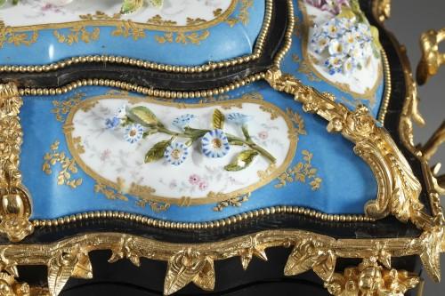 19th century - A mid 19th century large ebony and porcelain coffer - alphonse giroux.