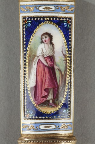 18th century - Gold and enamel needle or wax case