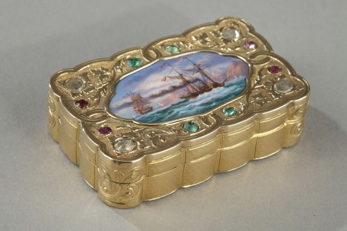 A swiss enamelled gold snuff-box for the oriental market. circa 1820-1830  - Objects of Vertu Style Louis-Philippe