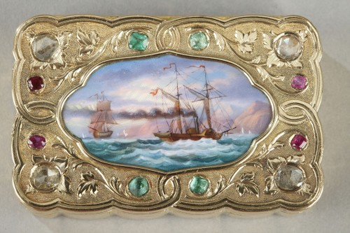 A swiss enamelled gold snuff-box for the oriental market. circa 1820-1830  -