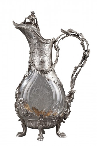 Ewer in silver and crystal. Late 19th century
