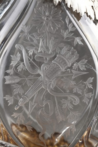 Ewer in silver and crystal. Late 19th century - Antique Silver Style Napoléon III