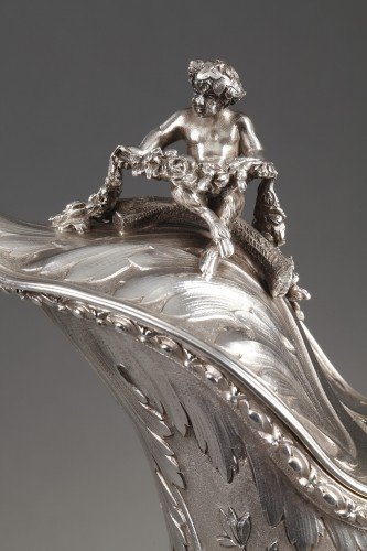 Ewer in silver and crystal. Late 19th century -
