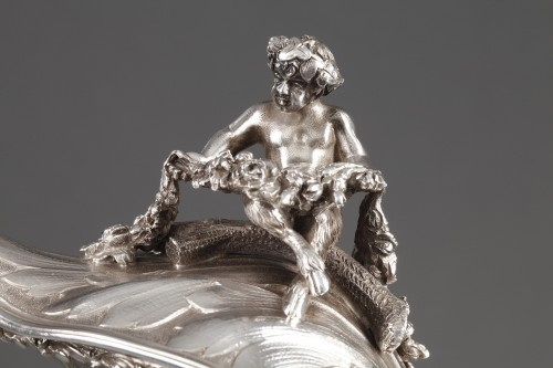 19th century - Ewer in silver and crystal. Late 19th century
