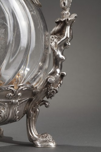 Ewer in silver and crystal. Late 19th century - Napoléon III