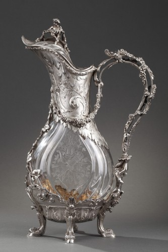 Napoléon III - Ewer in silver and crystal. Late 19th century