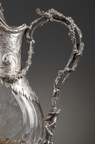 Antiquités - Ewer in silver and crystal. Late 19th century