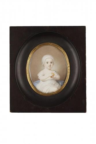 Early 19th Miniature in ivory.  Davida Angélique Marguerite Schickler.