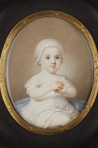 Early 19th Miniature in ivory.  Davida Angélique Marguerite Schickler. - Objects of Vertu Style Restauration - Charles X