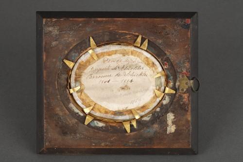 Early 19th Miniature in ivory.  Davida Angélique Marguerite Schickler. - Restauration - Charles X