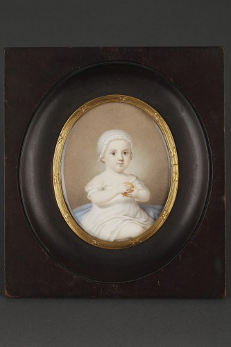 Restauration - Charles X - Early 19th Miniature in ivory.  Davida Angélique Marguerite Schickler.