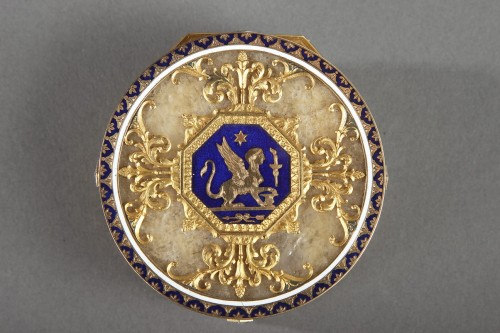 Quartz and gold snuff box with enamel and diamond. Rozet and Fishmeinster  - Objects of Vertu Style Napoléon III