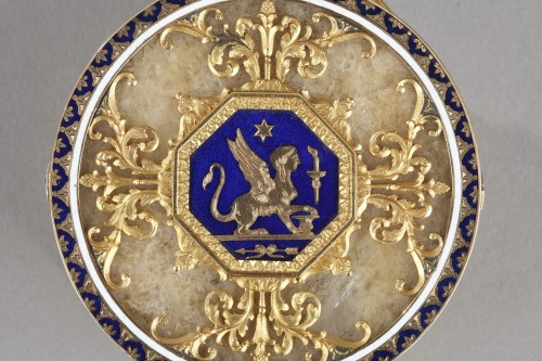 Quartz and gold snuff box with enamel and diamond. Rozet and Fishmeinster  - Napoléon III
