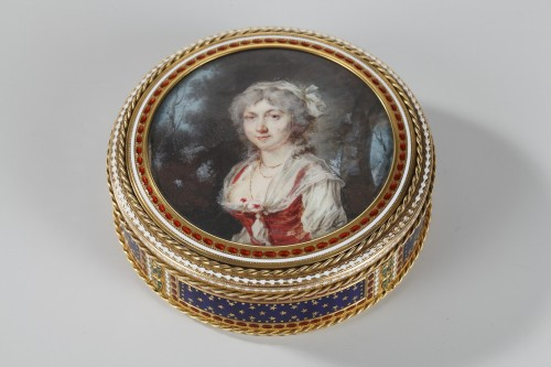 Gold and enamel bonbonniere with miniature on ivory - Objects of Vertu Style Louis XVI