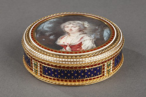 Gold and enamel bonbonniere with miniature on ivory - Louis XVI