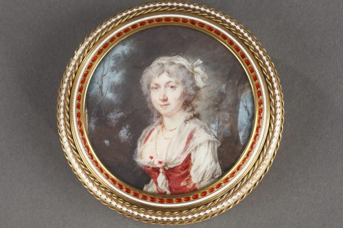 Louis XVI - Gold and enamel bonbonniere with miniature on ivory