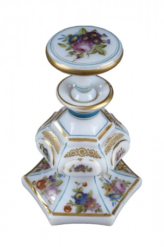 Mid-19th century opaline flask with bouquet of flowers