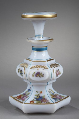 Mid-19th century opaline flask with bouquet of flowers - Glass & Crystal Style Napoléon III